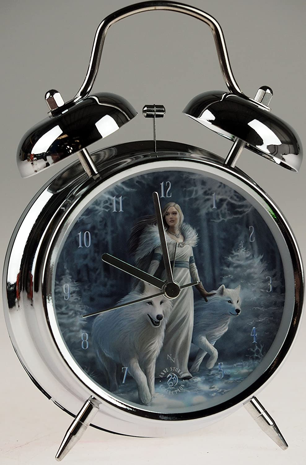Winter Guardians White Wolf Art Alarm Clock By Anne Stokes (17x10cm) Nemesis Now