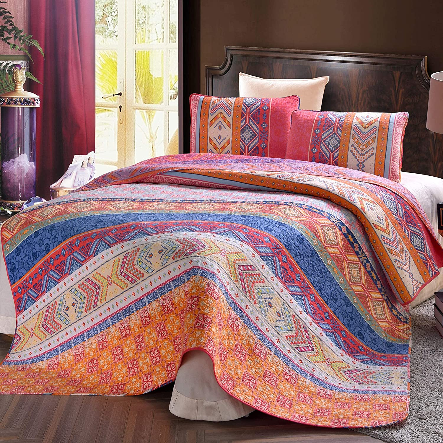 Exclusivo Mezcla 100% Cotton 3-Piece Multicolored Boho Full/ Queen Size Quilt Set as Bedspread/ Coverlet/ Bed Cover- Lightweight, Reversible and Decorative