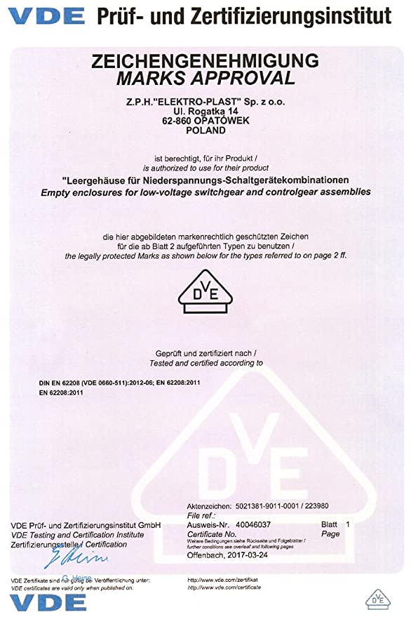 Distribution Box IP65 RHP 24 Up 36.240 24 Module Flush Certification ...