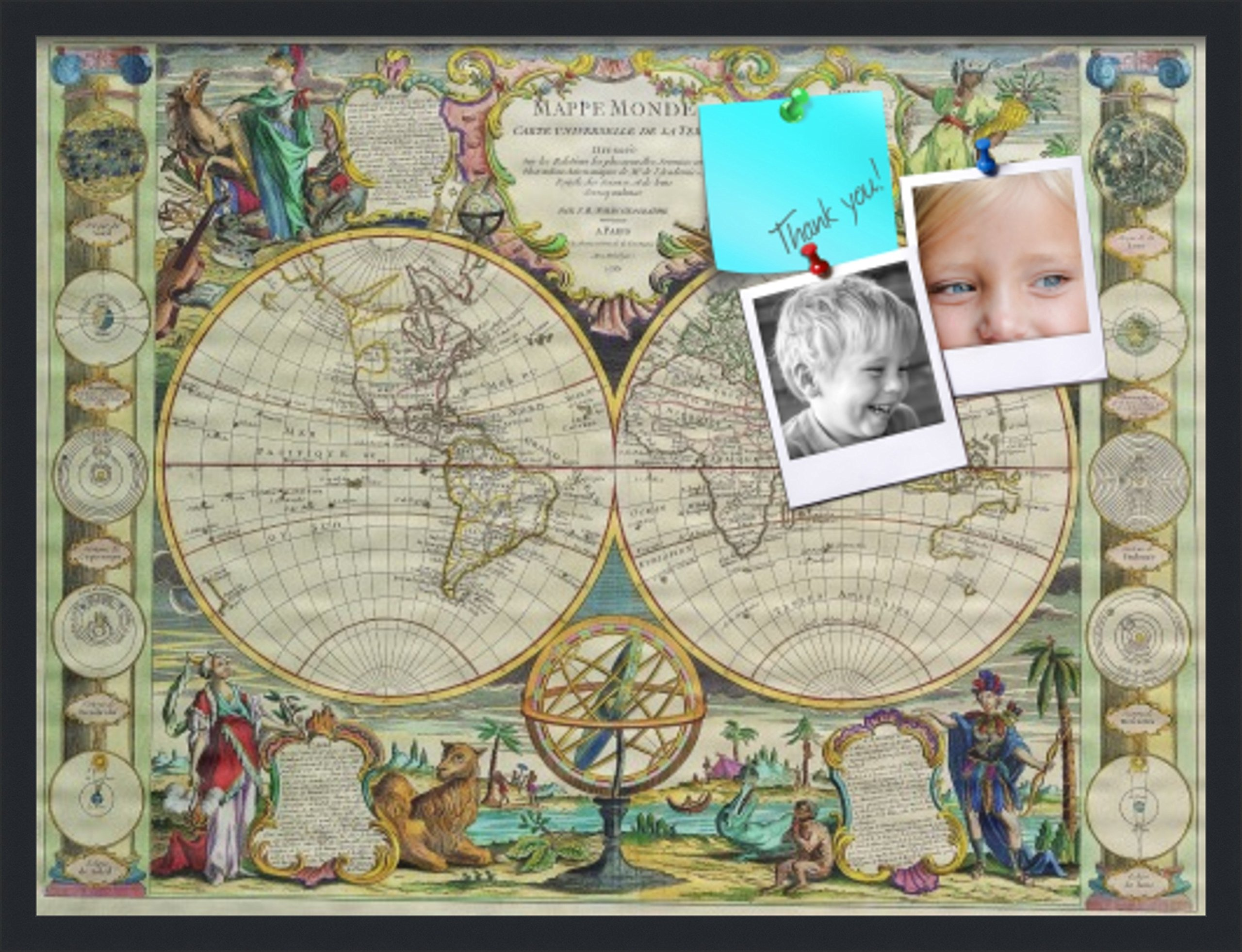 PinPix pin Cork Bulletin Board Made from Canvas, World Map 32 x 24 Inches (Completed Size) and Framed in Satin Black (PinPix-656)
