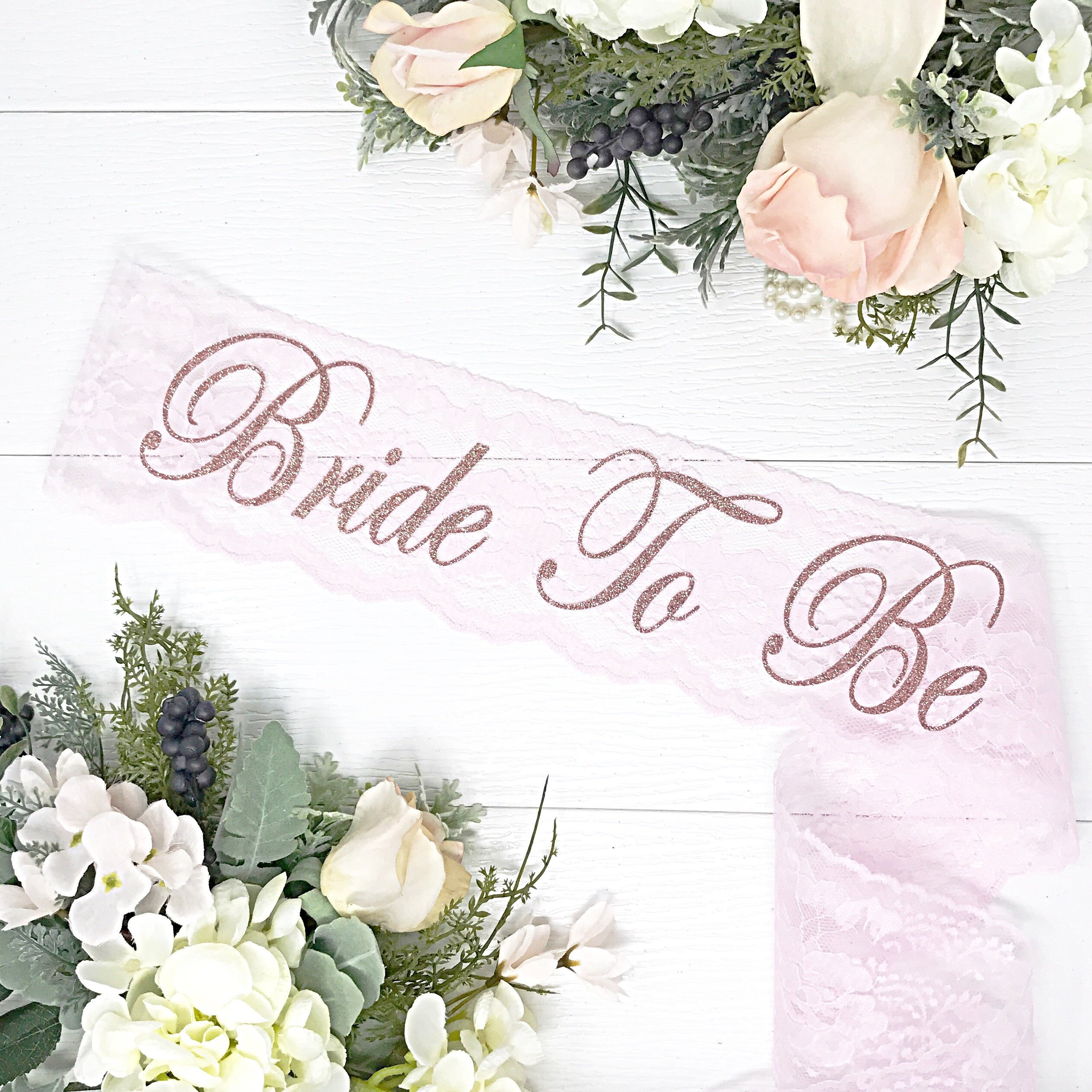 Lace Bachelorette Sash - Blush Pink Lace & Rose Gold