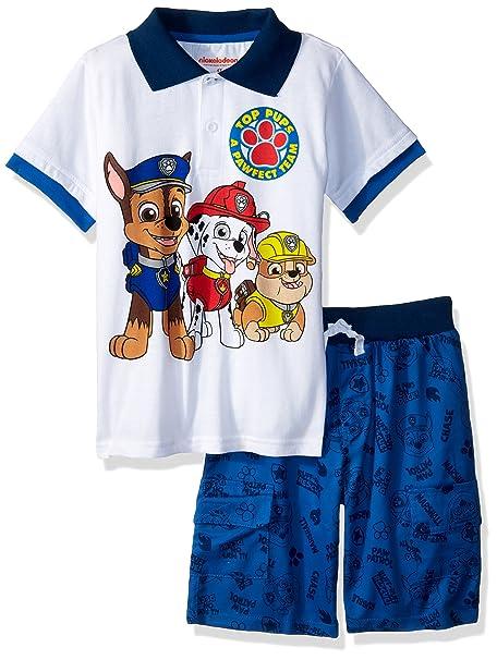 04e48a27fe3bd Amazon.com: Nickelodeon Boys' Paw Patrol Polo Short Set: Clothing