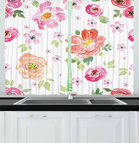 Ambesonne Floral Kitchen Curtains, Shabby Form Garden Flowers Roses Tulips Watercolor Abstract Art, Window Drapes 2 Panel Set for Kitchen Cafe Decor, 55 X 39 , Hot Pink Pale Pink and Orange