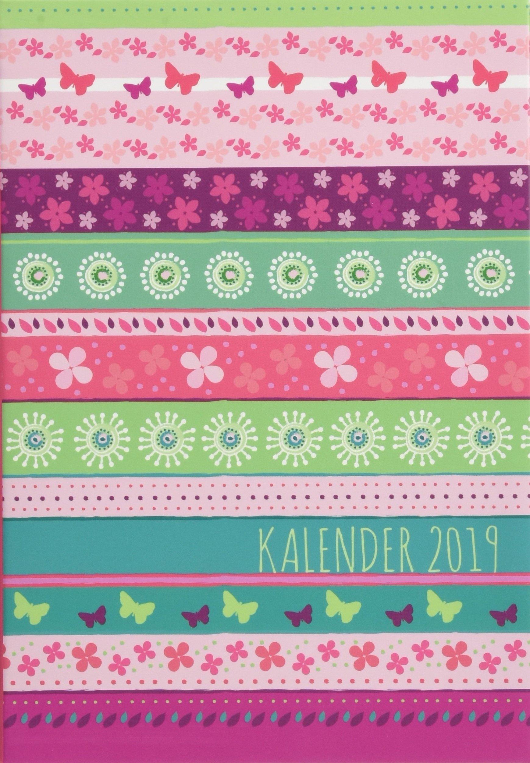 Streifen Floral Schülerkalender A6 - Kalender 2019: 17 Monate. Von August 2018 bis Dezember 2019.