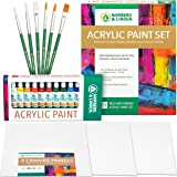 Acrylic Paint Set -12 Acrylic Paints, 6 Paint Brushes for Acrylic Painting, 3 Painting Canvas Panels - Premium Art…