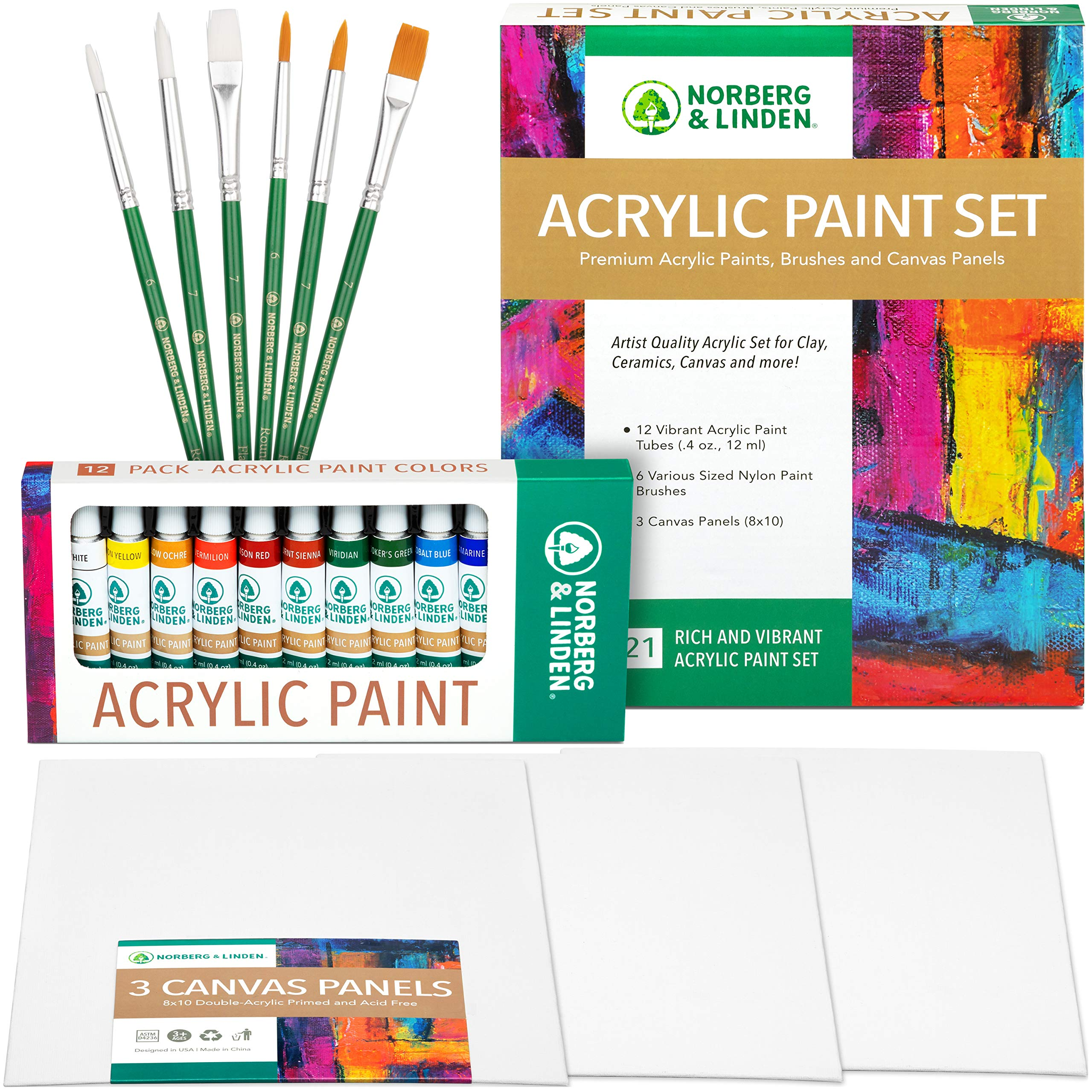 Acrylic Art Set - 12 Acrylic Paint Tubes - 6 Paint Brushes - 3 Canvas Panels - Art Supplies