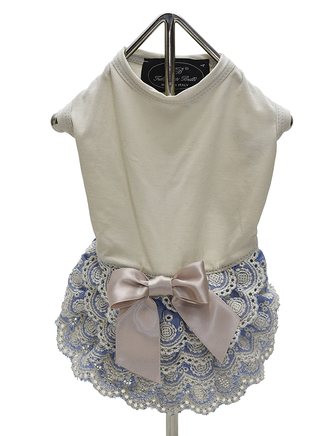 Beige Medium Beige Medium Trilly tutti Brilli Petra Dress with Lace and Bow for Dogs, Medium, Beige