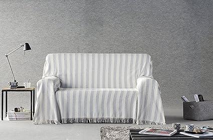 DECORACION NUEVO ESTILO- Plaid-Foulard Multiusos Toscana para Camas o sofás, tamaño 230 x 260, Color 11 Gris (Varias Medidas y Colores)