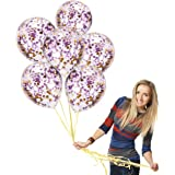 Treasures Gifted Unicorn Baby Shower Party Decorations 12 Inch Clear Transparent Balloons with Purple and Gold Confetti Supplies for Bridal Birthday Wedding Anniversary