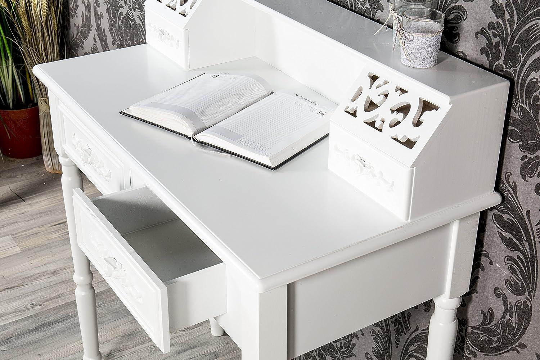 Sekretär Tisch Schreibtisch weiß Rose Landhaus WS466