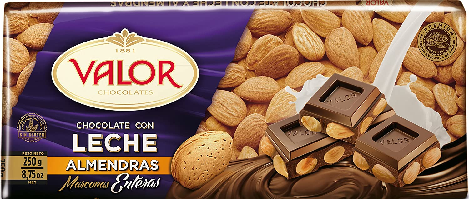Chocolates Valor - Choholate con y Marconas Enteras - 250 g: Amazon.es: Alimentación y bebidas