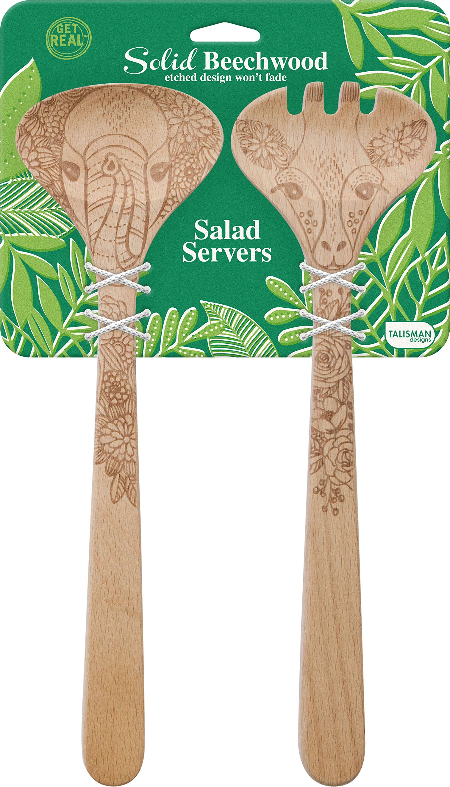 Talisman Designs Beechwood Salad Serving Set, Wildlife Design Elephant and Giraffe, Laser Etched Fork and Spoon, Natural