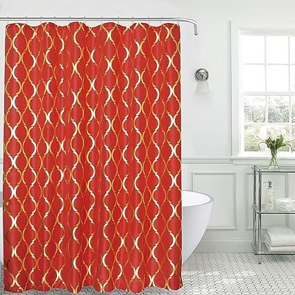 Sally Textiles Regina Faux Silk Shower Curtain Red Gold