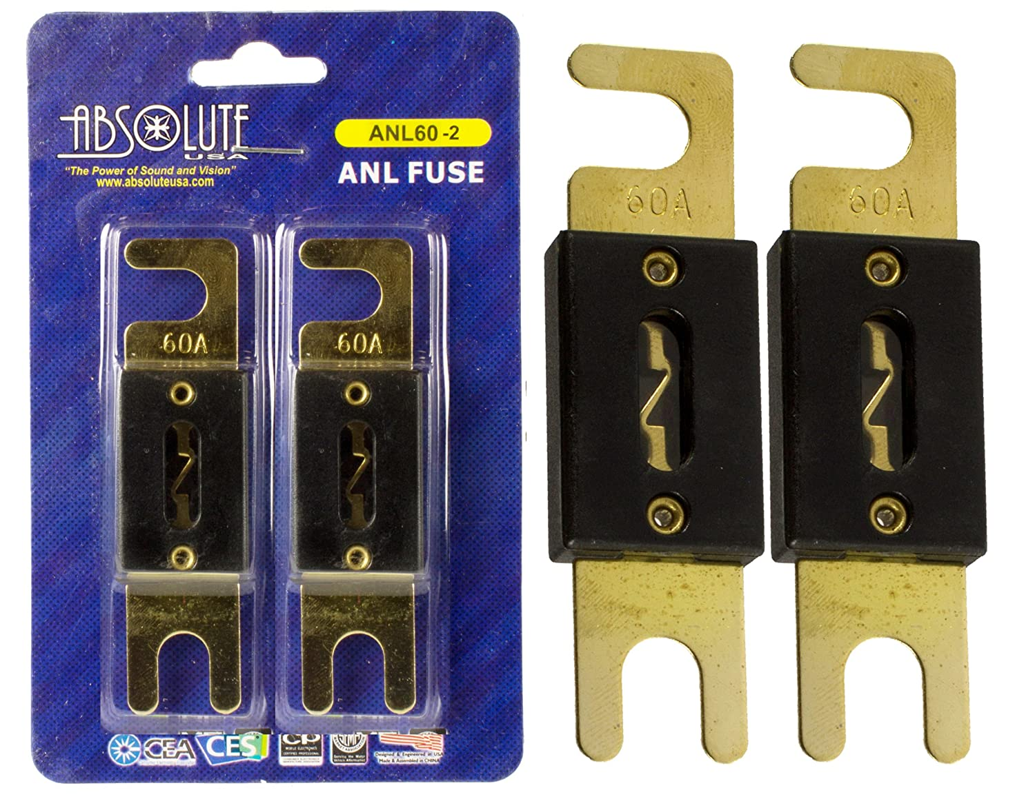 Absolute USA ANL60-2 2 Pack ANL 60 Amp Gold Plated Fuse Absolute USA Inc.