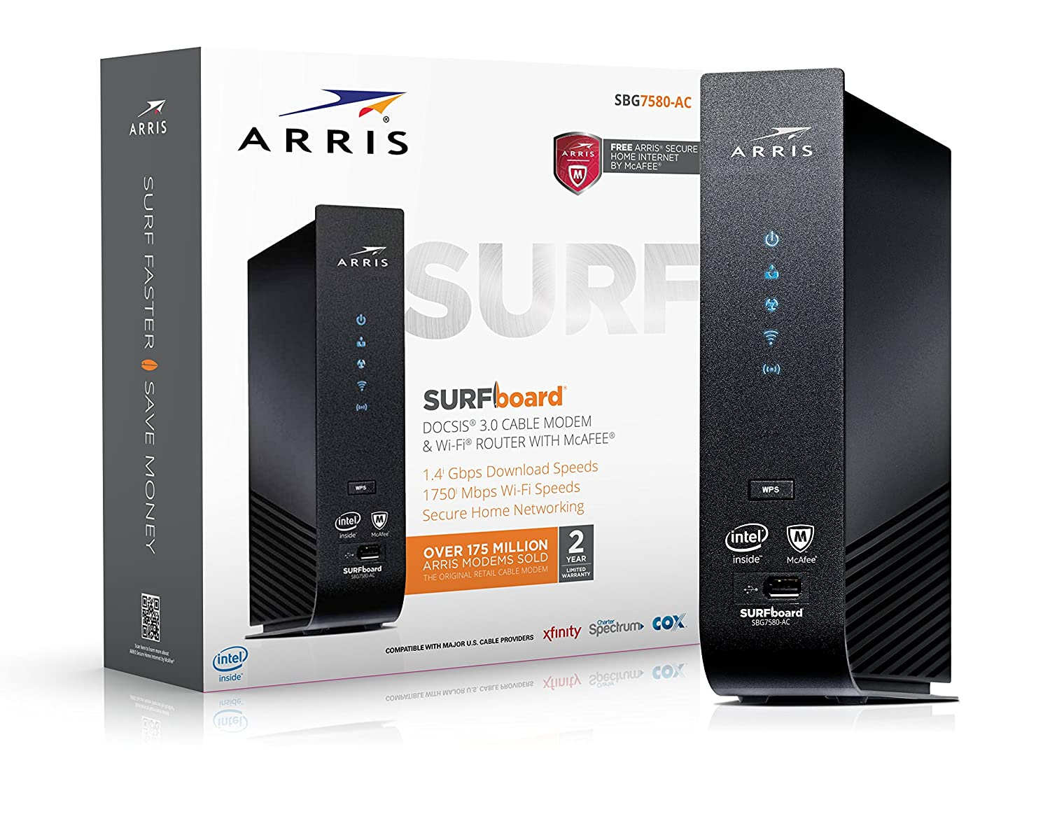 Arris Sur Fboard Sbg7580 Ac 32x8 Docsis 3.0 Cable Modem/Ac1750 Wi Fi Router/Mc Afee Whole Home Internet Protection  Black by Arris