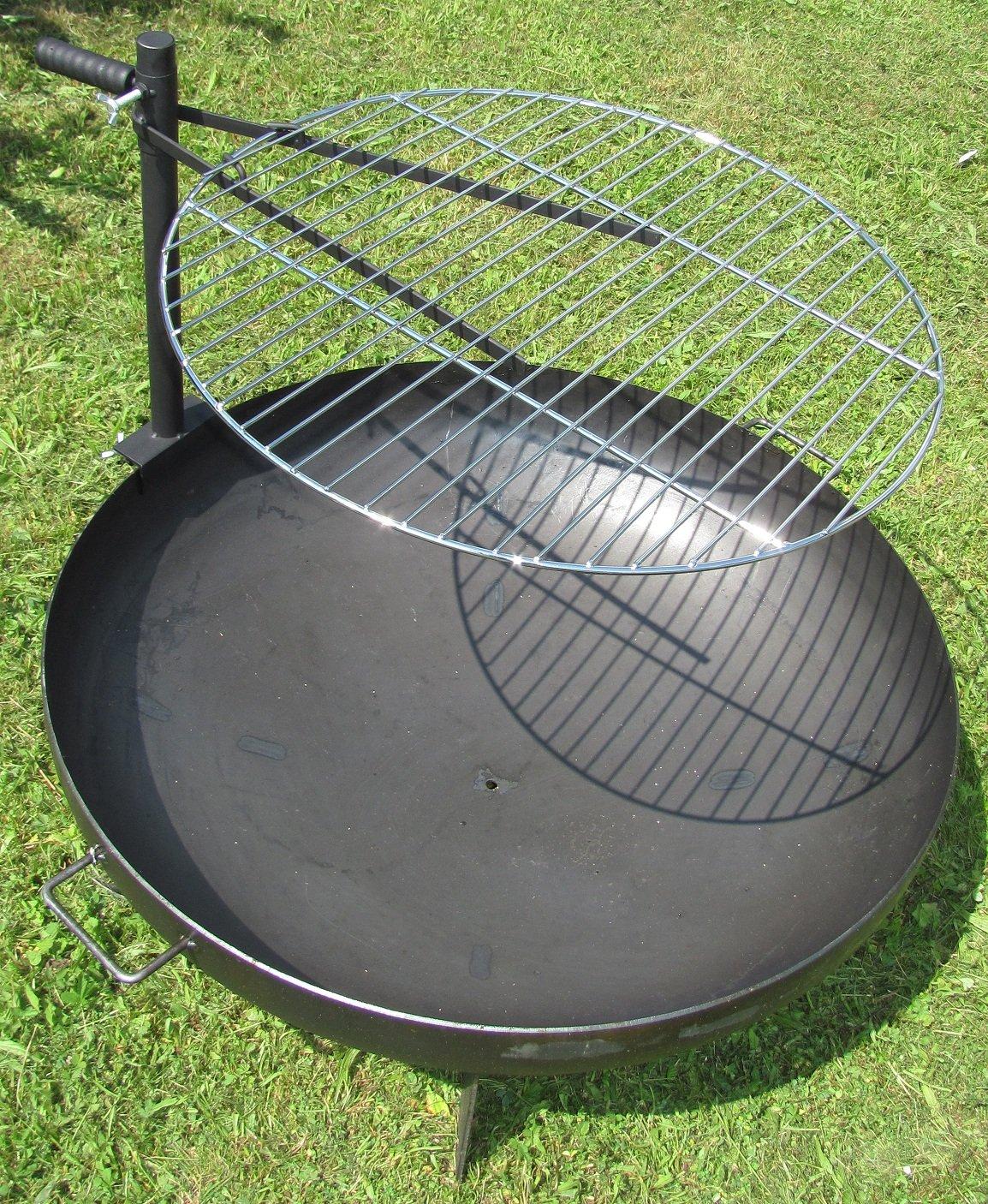 Grillrost für Feuerschale Ø60cm verchromter Rost höhenverstellbare Halterung Linder
