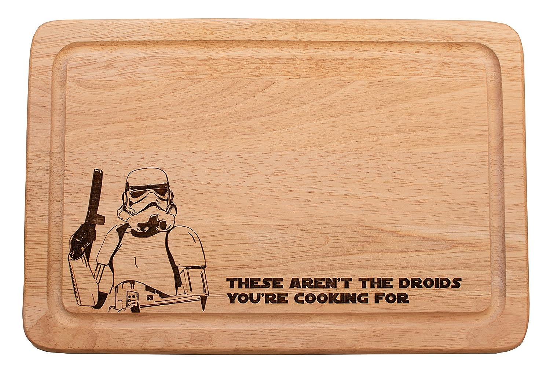 "Tabla para quesos de madera para cortar inspirada en Star Wars ""These aren't the Droids you're cooking for"". Custom Slate"
