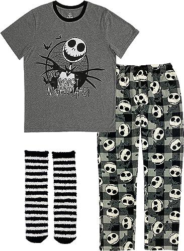 and Cozy Socks Shirt Nightmare Before Christmas Jack Skellington 3 Piece Gift Set Pajama Pants