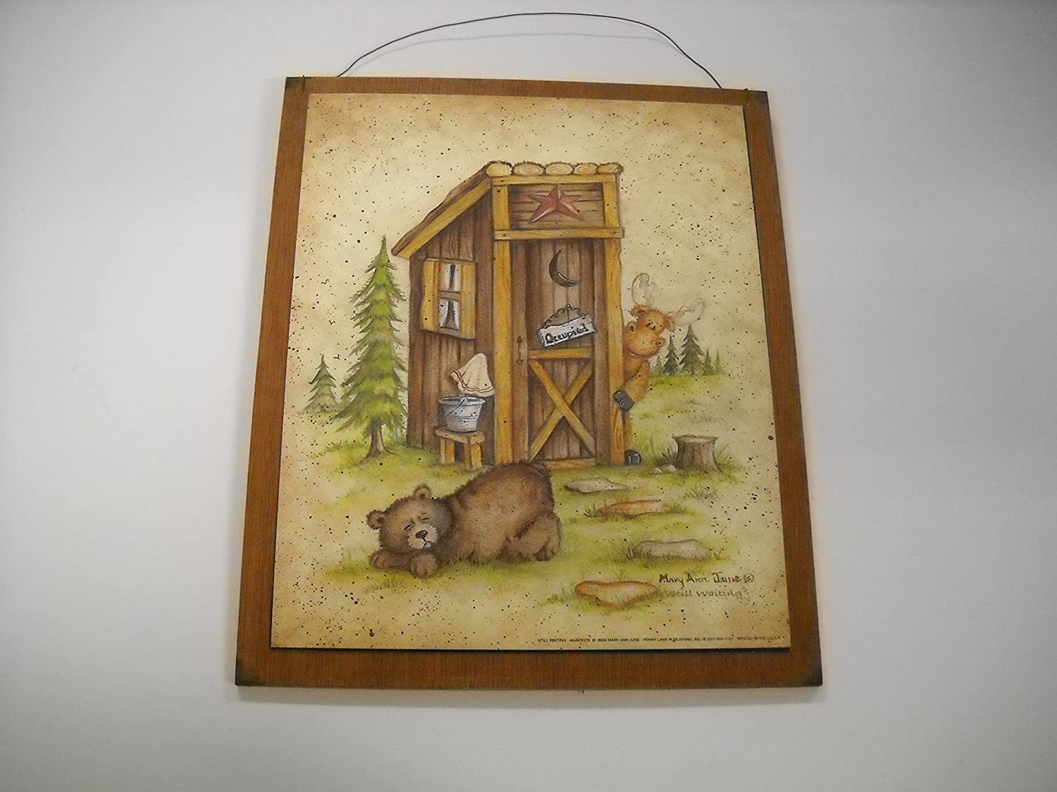 Amazon.com: Still Waiting Bear Moose Country Bath Outhouse Lodge Cabin Sign  Wooden Bathroom Wall Signs: Home U0026 Kitchen