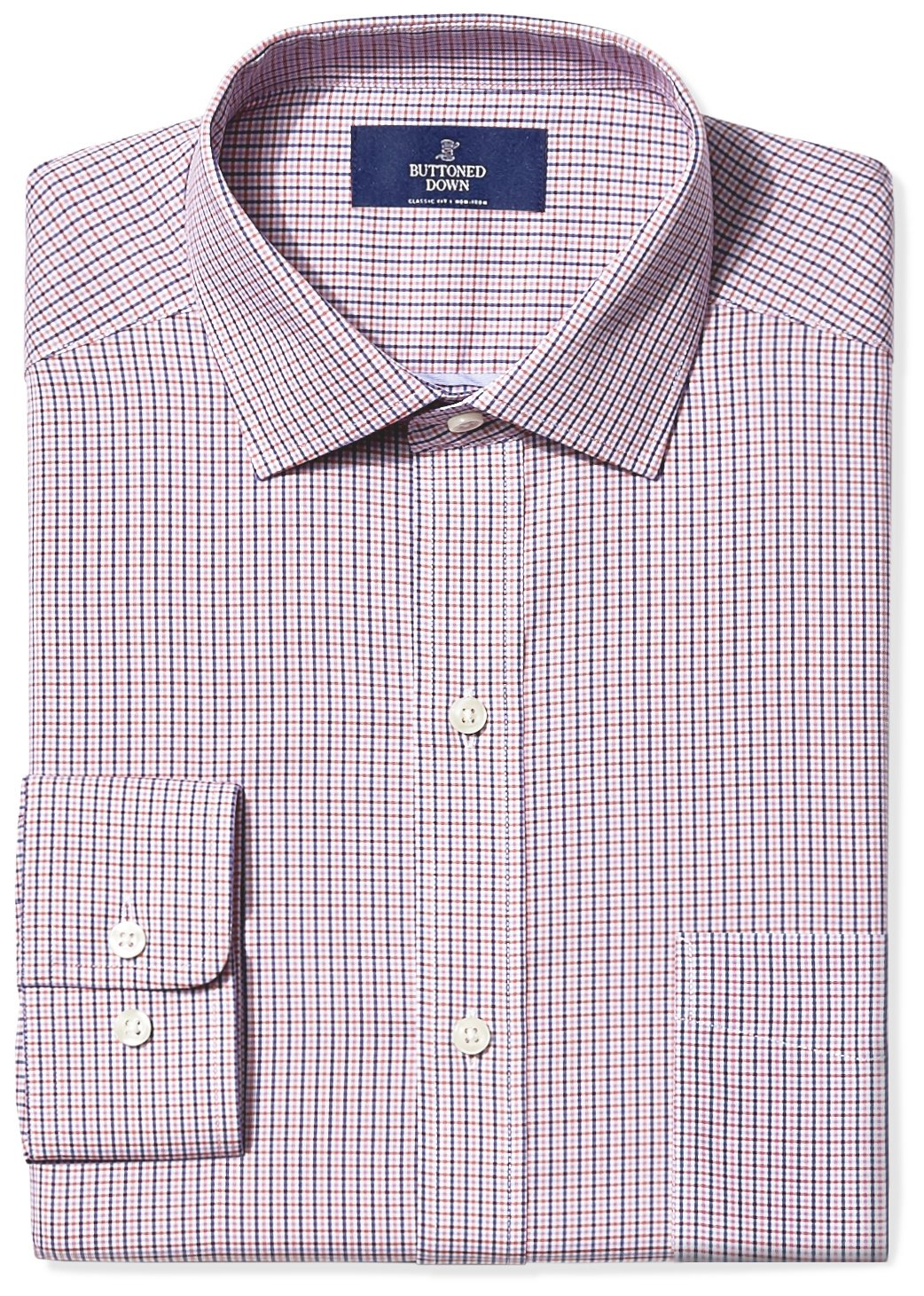 Buttoned Down Men's Classic Fit Spread-Collar Non-Iron Dress Shirt, Berry/Red/Navy Small Tatersol, 16.5'' Neck 38'' Sleeve