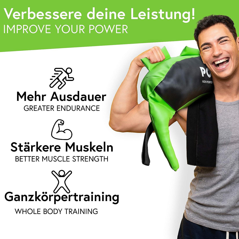 POWRX Saco Búlgaro 5-22 kg - Bulgarian Bag Ideal para Ejercicios de Entrenamiento Funcional y potenciamiento Muscular
