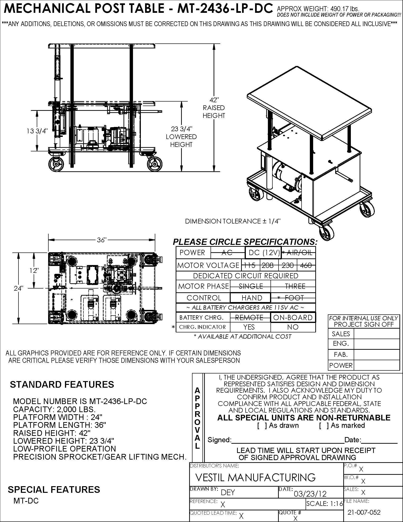 Vestil MT-2436-LP-DC Low Profile DC Power Post Table, 24'' x 36'', Blue