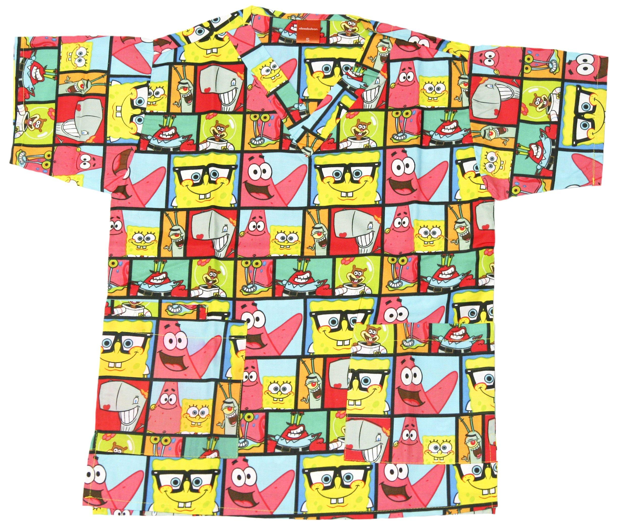 Nickelodeon Ladies Cartoon Pediatric Scrub Top (L, Spongebob Multi)