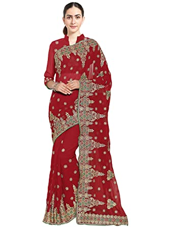 8f88094d89 SOURBH Women's Faux Georgette Heavy Hand Work Embroidery Bridal Saree, Free  Size (Red,