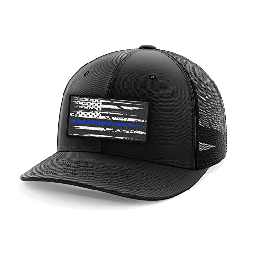 3441ae559ff Tactical Pro Supply Thin Blue Line Flag Flexflit Hat (S M)