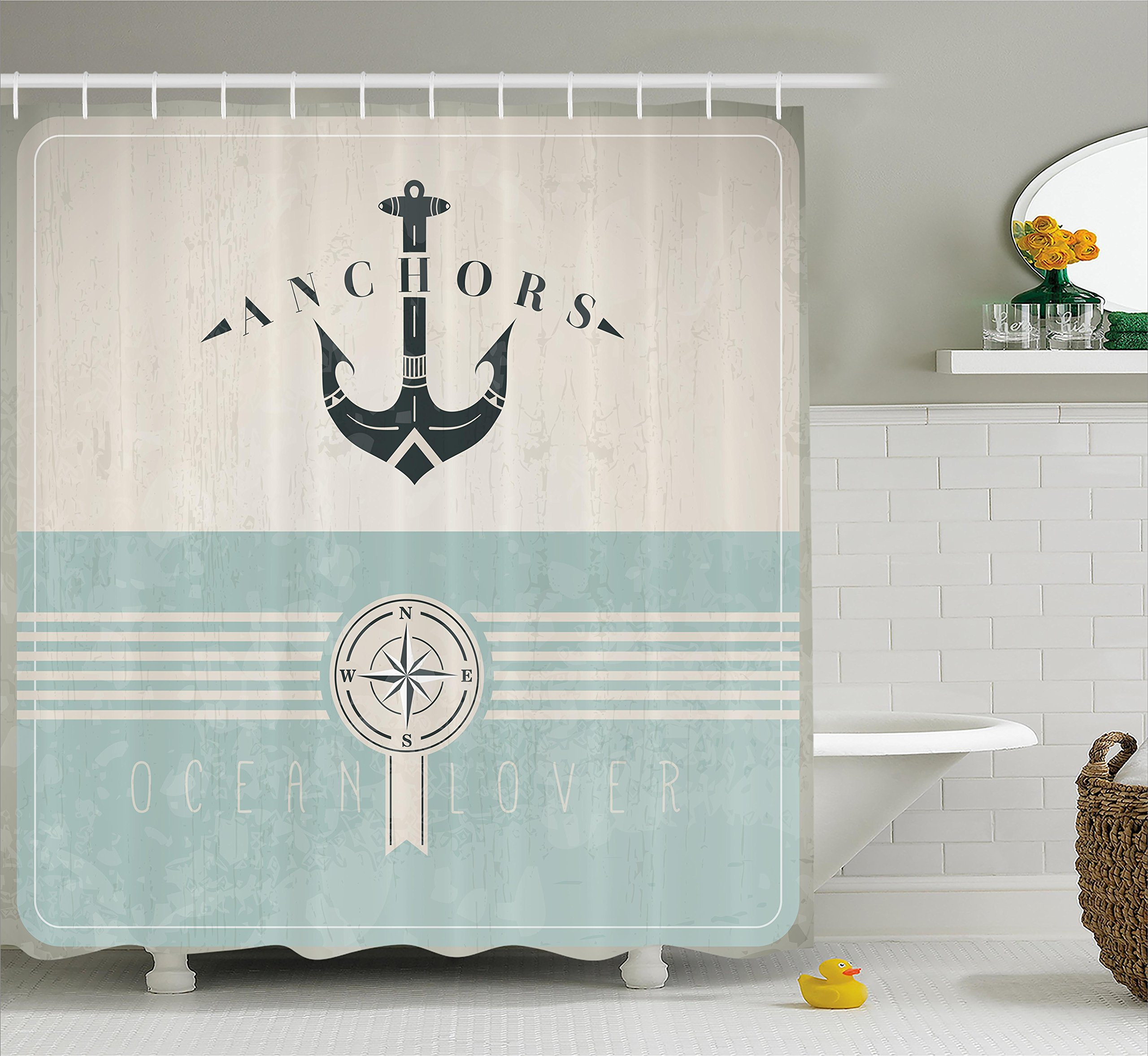 Ambesonne Nautical Shower Curtain by, Aged Ocean Lover Phrase with Anchor Figure and Compass Marine Adventure Design, Fabric Bathroom Decor Set with Hooks, 75 Inches Long, Beige Blue