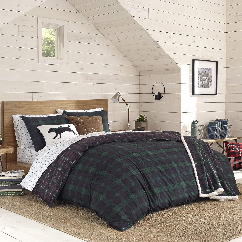 Eddie Bauer Woodland Tartan Comforter Set, Queen, Green