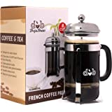 DejaBrew The Best French Press Coffee Maker and Tea Maker - Best Reinforced Glass with Stainless Steel Frame - French Press Coffee Pot 8 Cup (34 ounce)