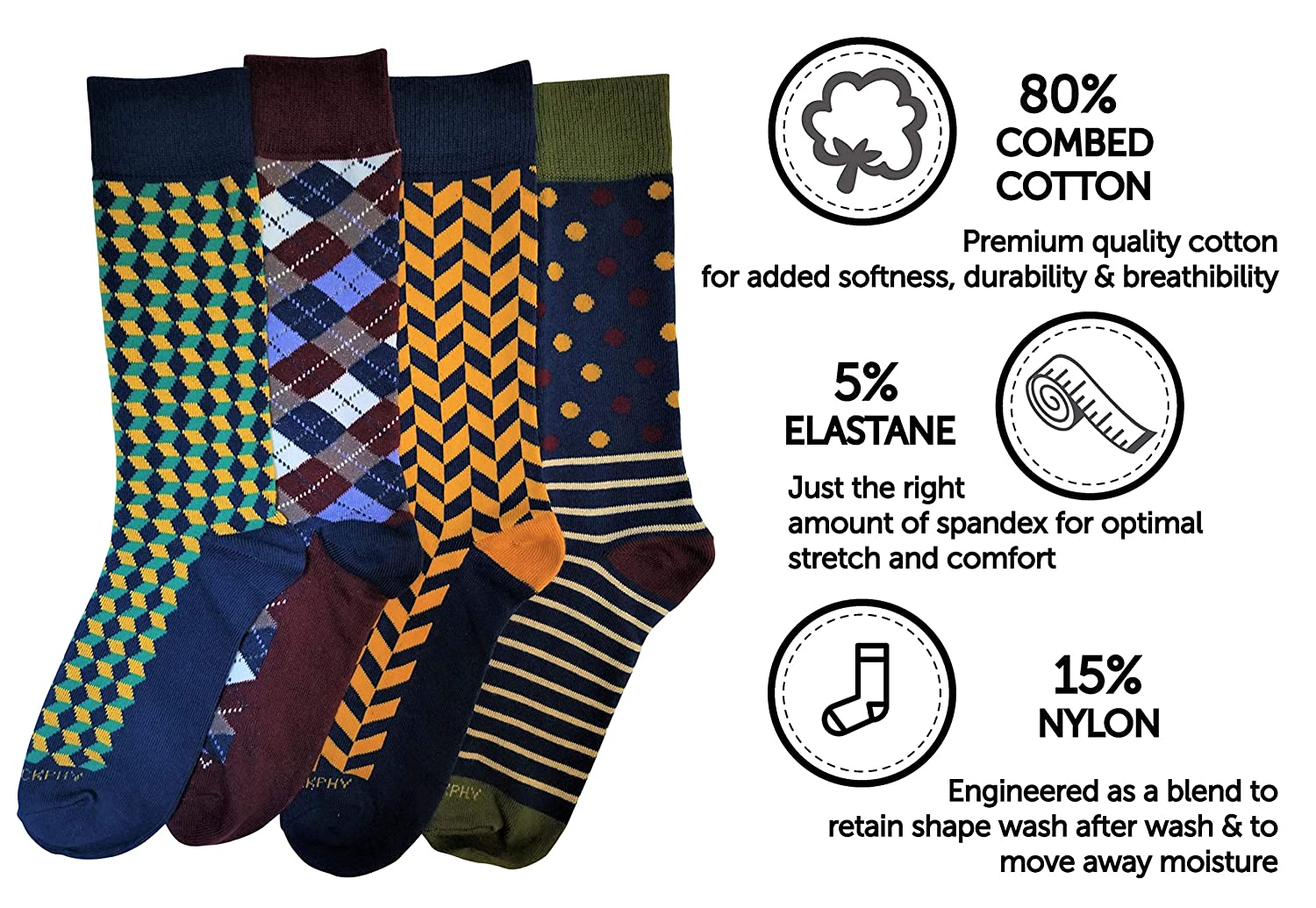 Mens Socks-4 Pack-Mens Dress Socks-Colorful Socks by PHILOSOCKPHY MG14