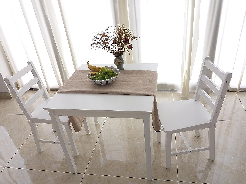 furniture-uk-shop Tavolo da pranzo in legno massello 2sedie, stile contemporaneo, set da pranzo White