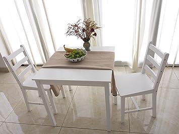 GroBartig Furniture Uk Shop Esstisch Holz Massiv Tisch 2 Stühle Zeitgenössisches  Esszimmer Set Weiß