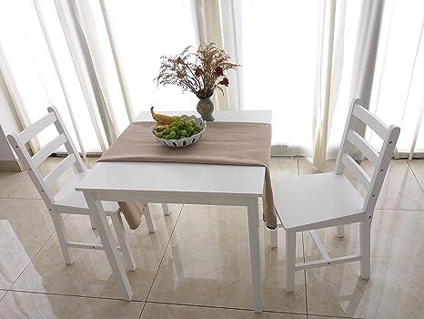 furniture-uk-shop Tavolo da Pranzo in Legno massello 2 sedie, Stile ...