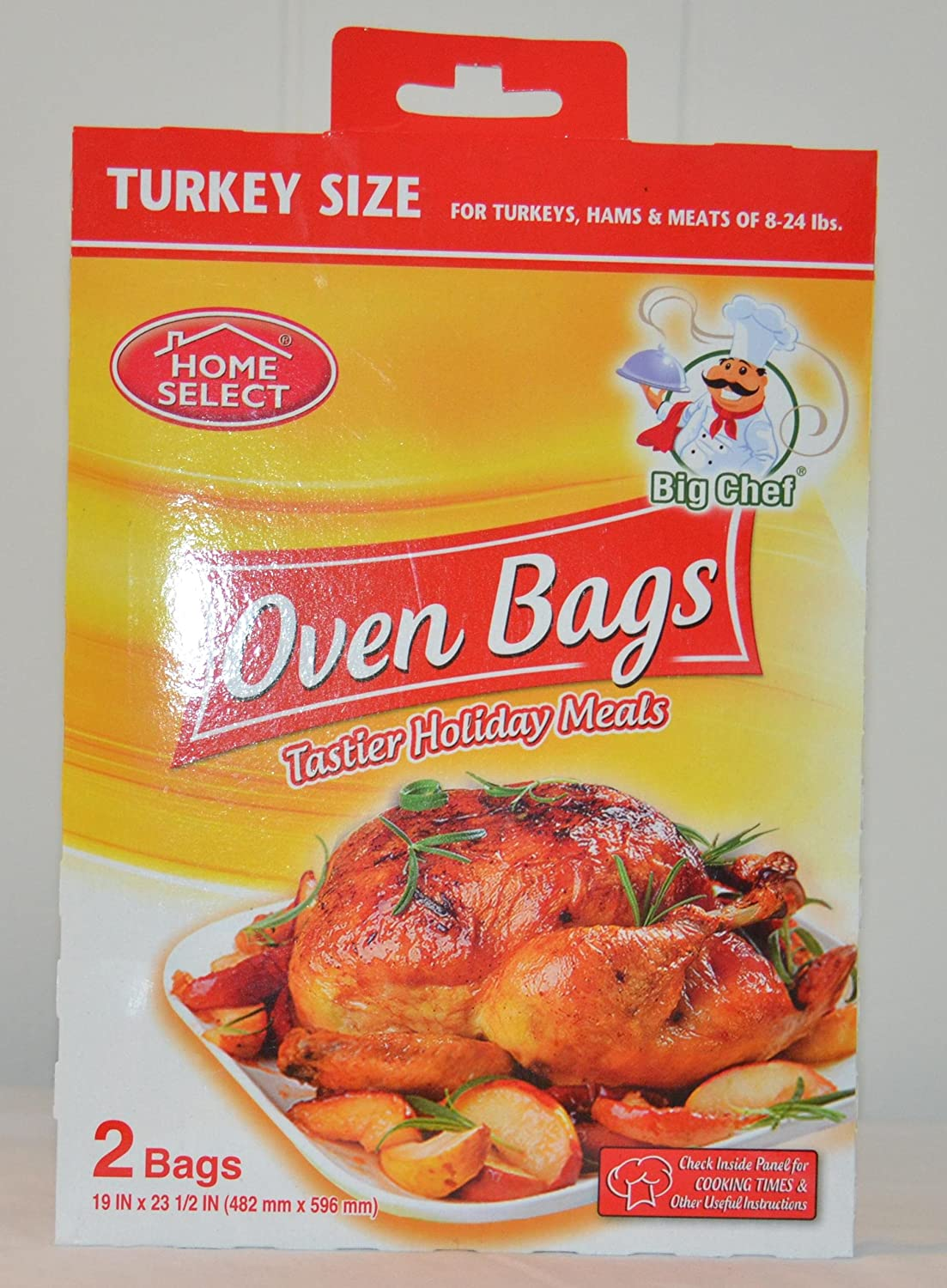 Home Select Big Check Oven Bags Turkey Size 2 Bags