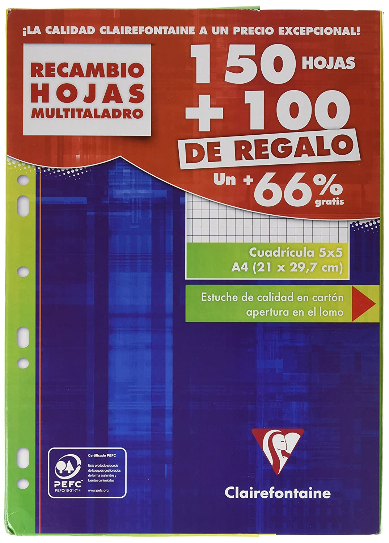 Clairefontaine 11792c - Paquete de folios para carpeta de anillas (500 paginas/250 Hojas, cuadrícula pequeña) 11797C