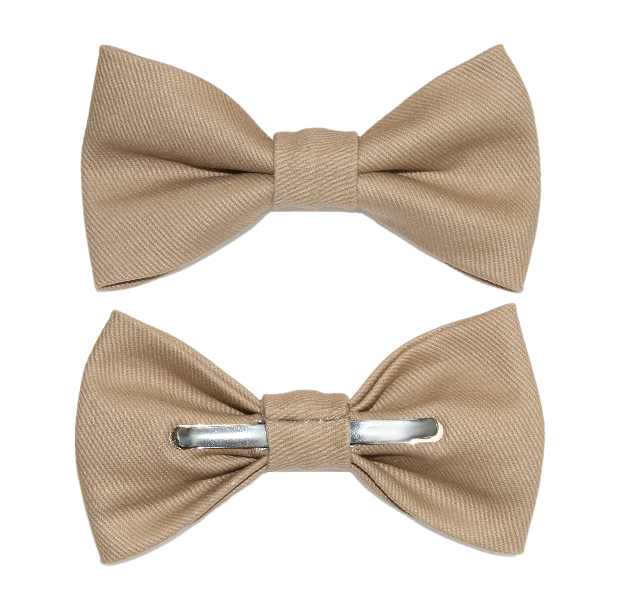 amy2004marie Men's Khaki Brushed Denim Clip On Bow Tie