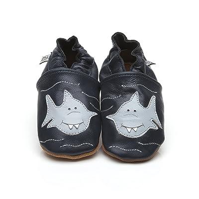 Chaussons Bébé en cuir doux - Requin - 12/18 mois