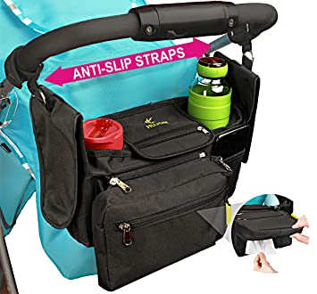 Baby Stroller Organizer with 2 Cup Holders Universal Fit All Strollers Models Accessory Bag with Shoulder Strap Storage for Bottles Diapers Wipes Toys Phone