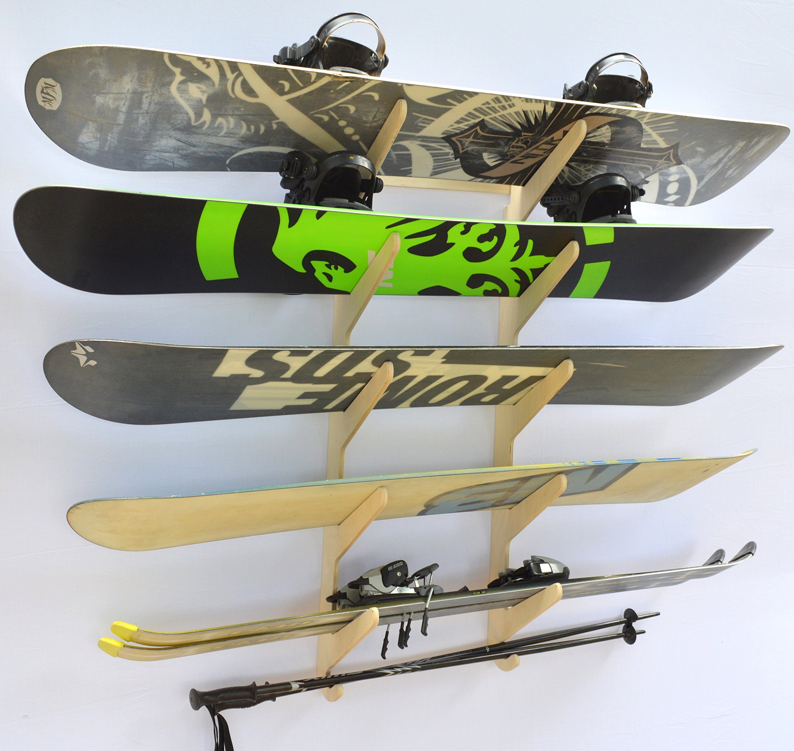 Snowboard Ski Hanging Wall Rack -- Holds 5 Boards by Pro Board Racks