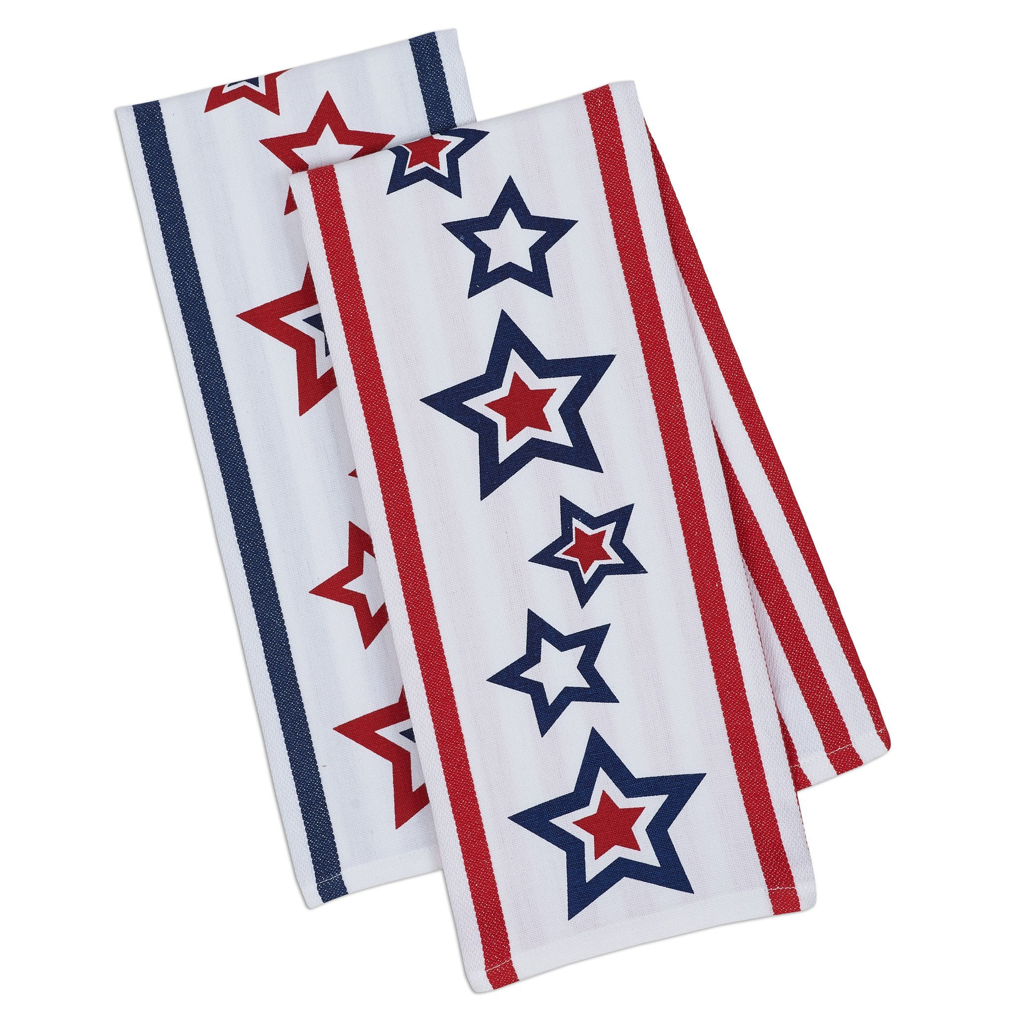 Ayuni Gifts of the World Patriotic Liberty Ruffle Apron with Matching Stars & Stripes Cotton Print Dish Towel (Red White & Blue Stars)