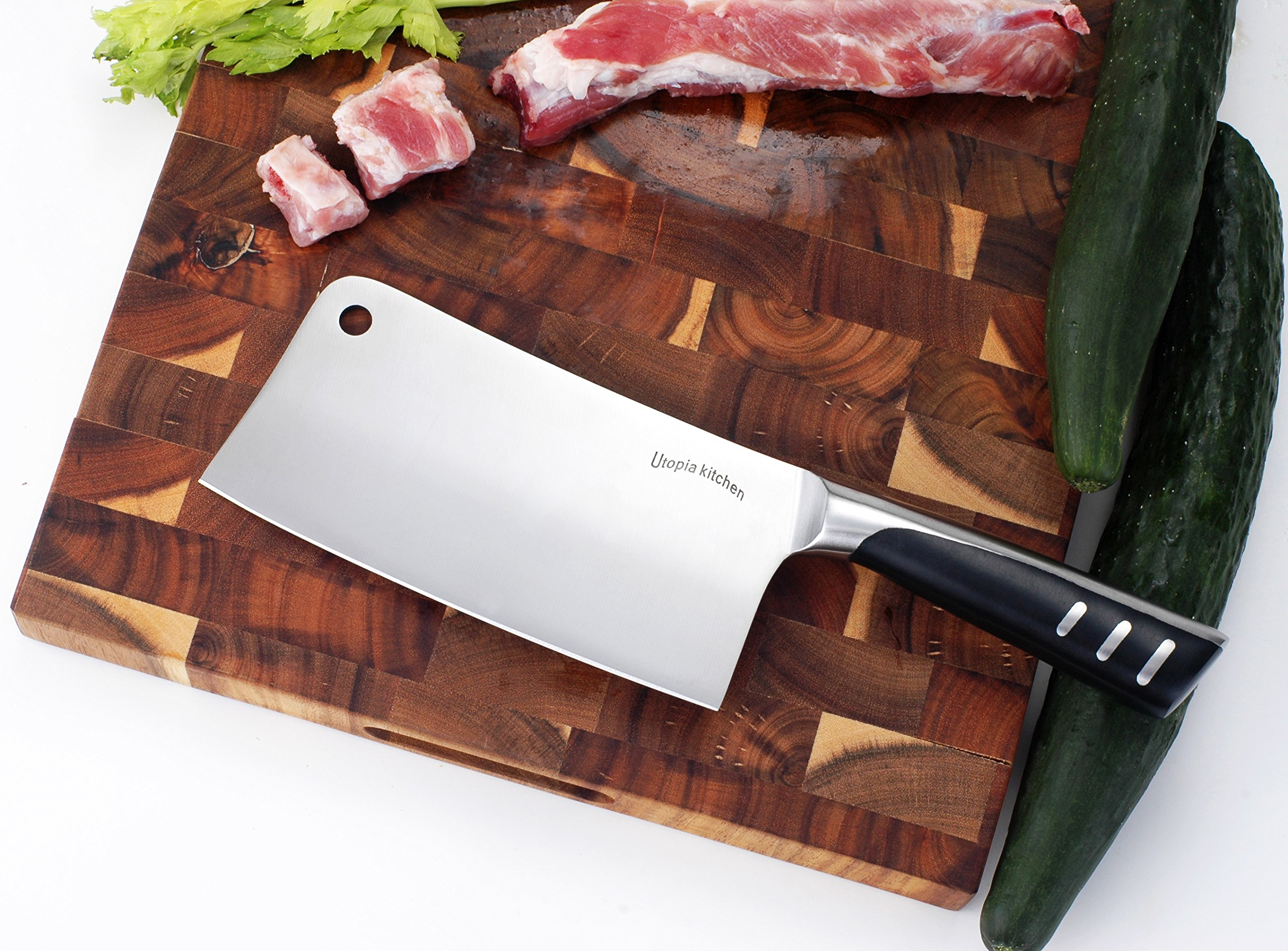 7 Inch Stainless Steel Chopper - Cleaver - Butcher Knife - Multipurpose Use for Home Kitchen or Restaurant by Utopia Kitchen by Utopia Kitchen (Image #3)