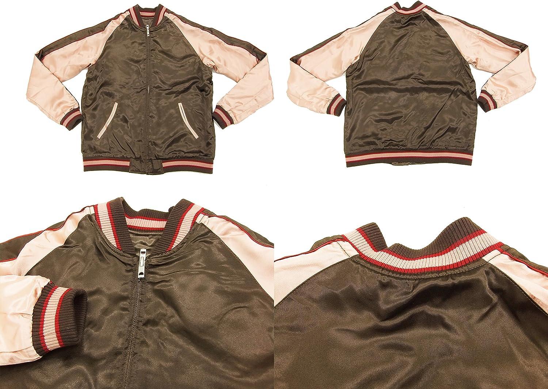 Japanesque Script Japanese Souvenir Jacket 3RSJ-030 Ume and Bird Mens Sukajan