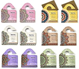 Karma Scents Set of 12 Wooden Board Sachets - Naturally Scented and Long-Lasting - Patchouli, Sandalwood, Rose, Vanilla, Jasmine, Lavender