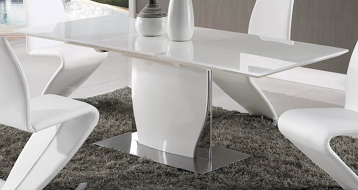 Amazon com global furniture dining table white high gloss kitchen dining