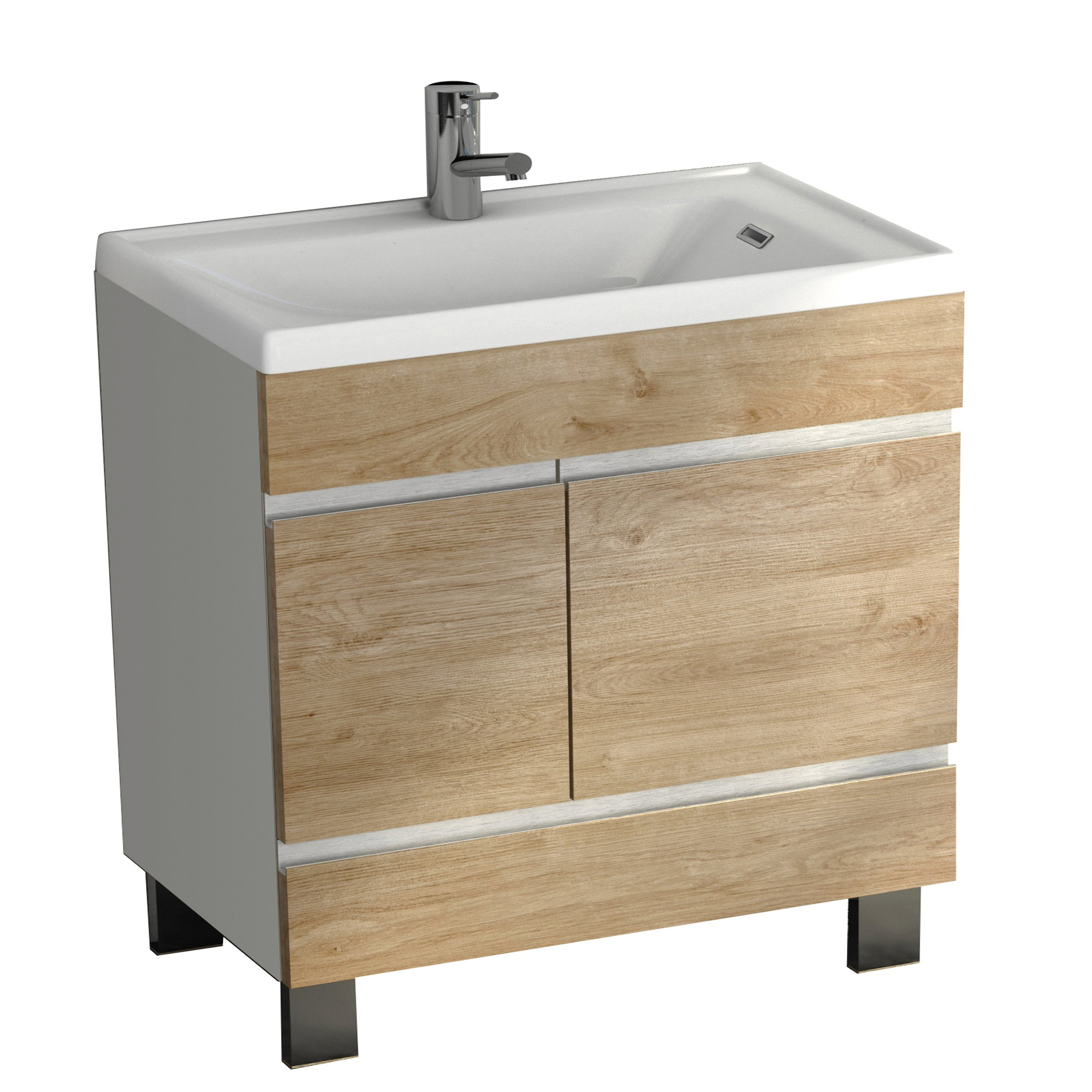 "Eviva EVVN540-24WH/OAK Petite Plus 24"" White/Oak Vanity with Porcelain Sink"