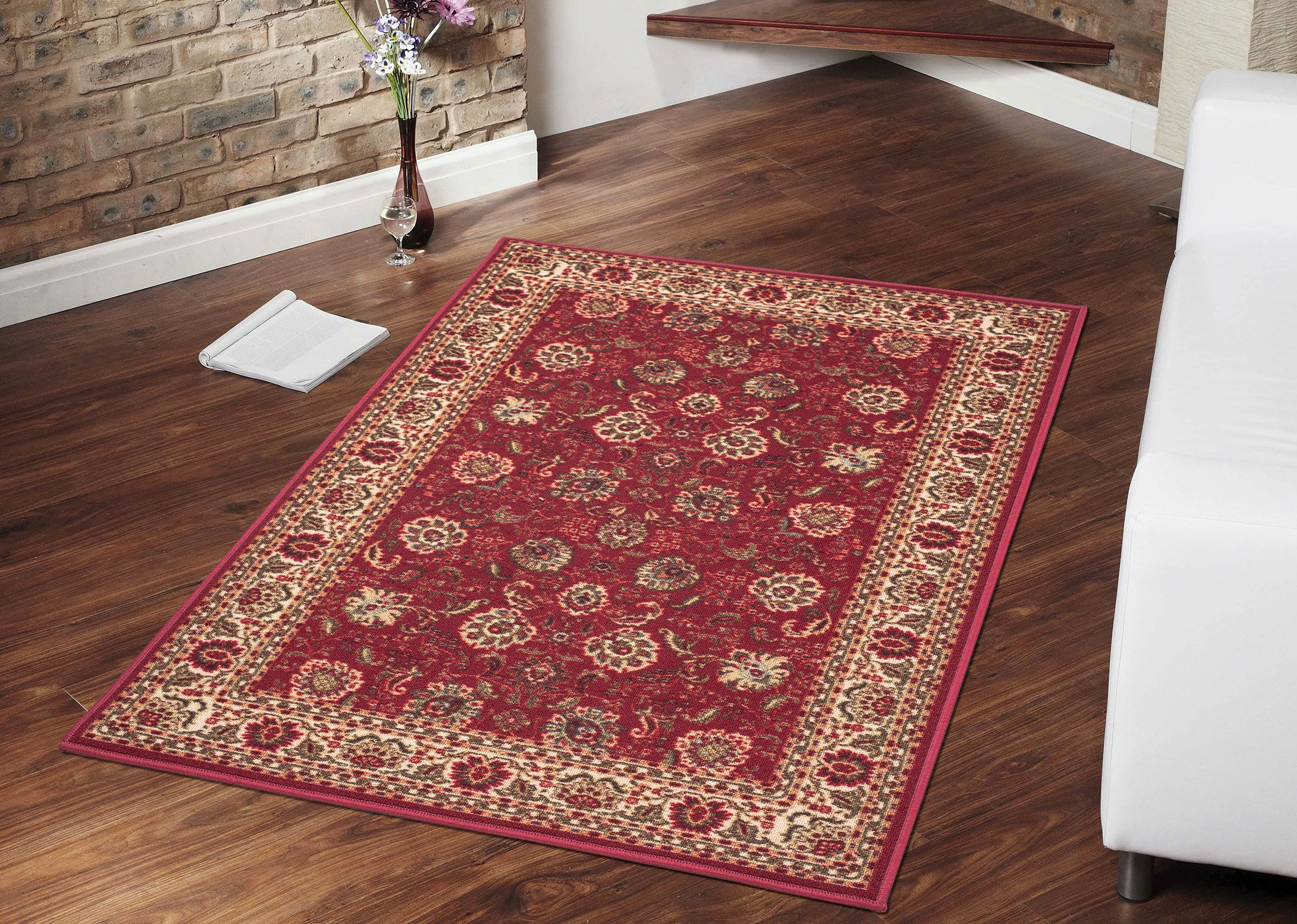 Ottomanson Ottohome Collection Traditional Persian Oriental Design Non-Slip Area Rug, 8'2'' X 9'10'', Red by Ottomanson