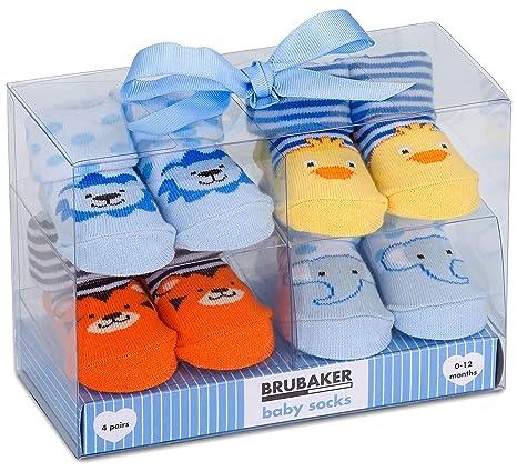 671bccd2eecb6 BRUBAKER - Chaussettes bébé - Lot de 4 Paires - Garçon 0-12 Mois ...